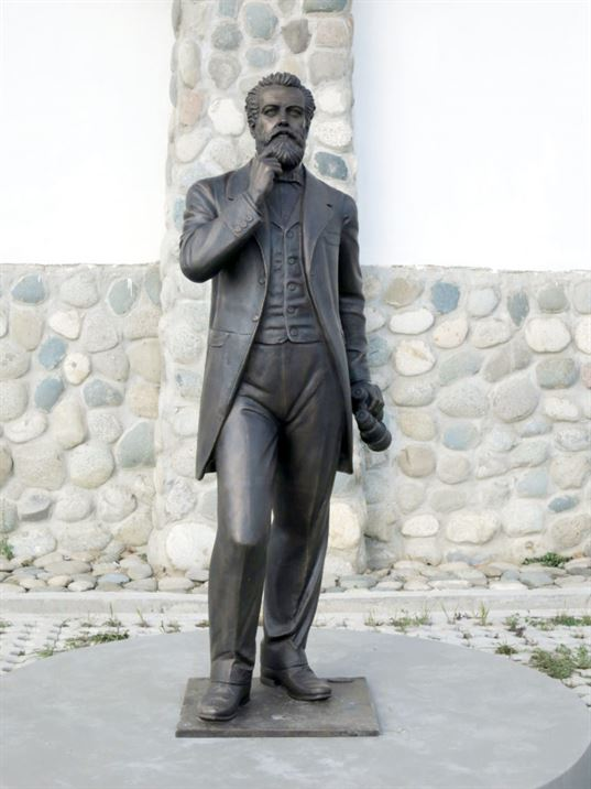 Jules Verne Monument on the territory of the «Etnomir» Cultural and Educational Center. - 12 768x1024