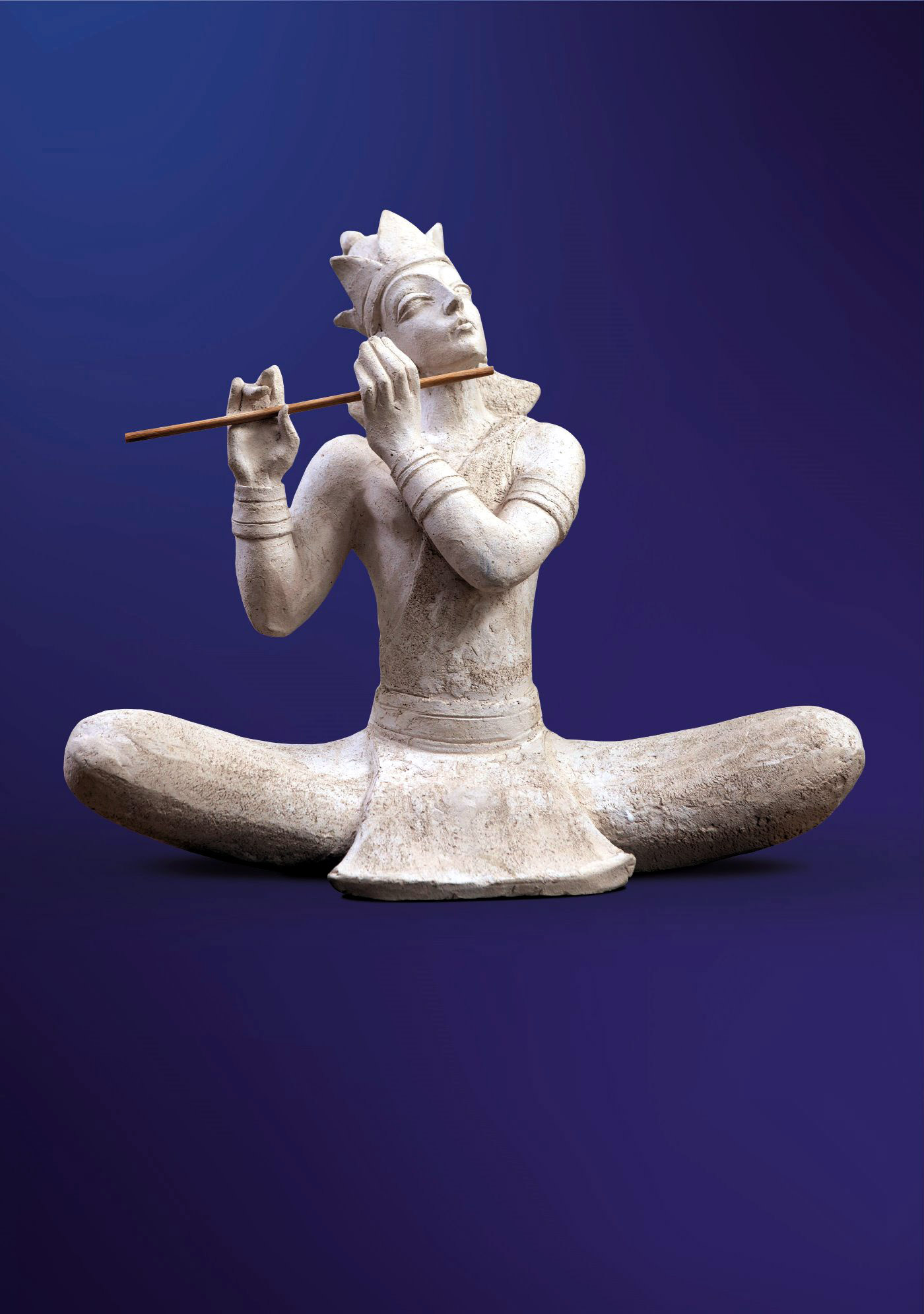 Кришна играет на флейте. 2003. Шамот. 40 х 46 х 22.